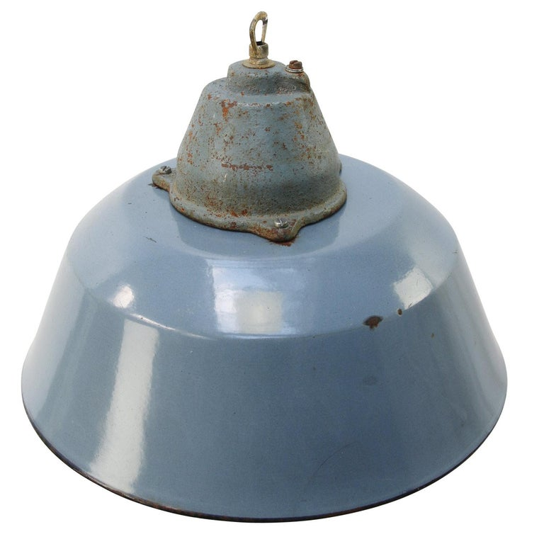 Factory pendant. Gray enamel white interior. Cast iron top with clear glass.  Measures: Weight 3.4 kg / 7.5 lb  Priced per individual item. All lamps have been made suitable by international standards for incandescent light bulbs,