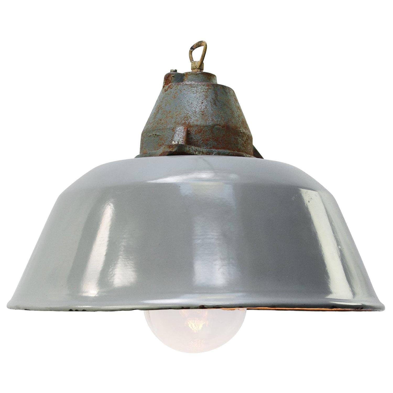 Gray Enamel Vintage Industrial Clear Glass Cast Iron Pendant