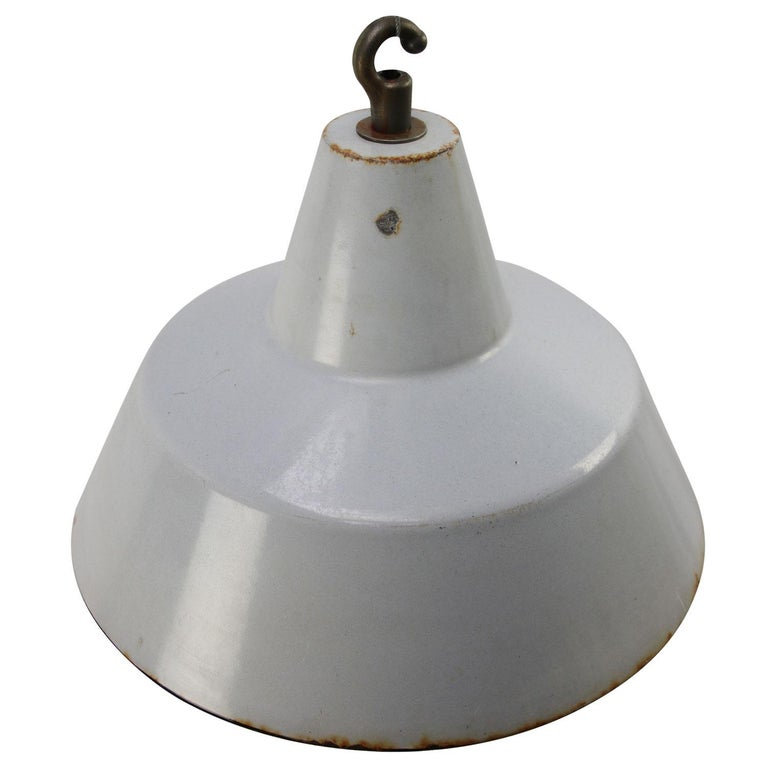 Dutch industrial hanging lamp by Philips grey enamel white interior  Weight: 1.25 kg / 2.8 lb  Priced per individual item. All lamps have been made suitable by international standards for incandescent light bulbs, energy-efficient and LED