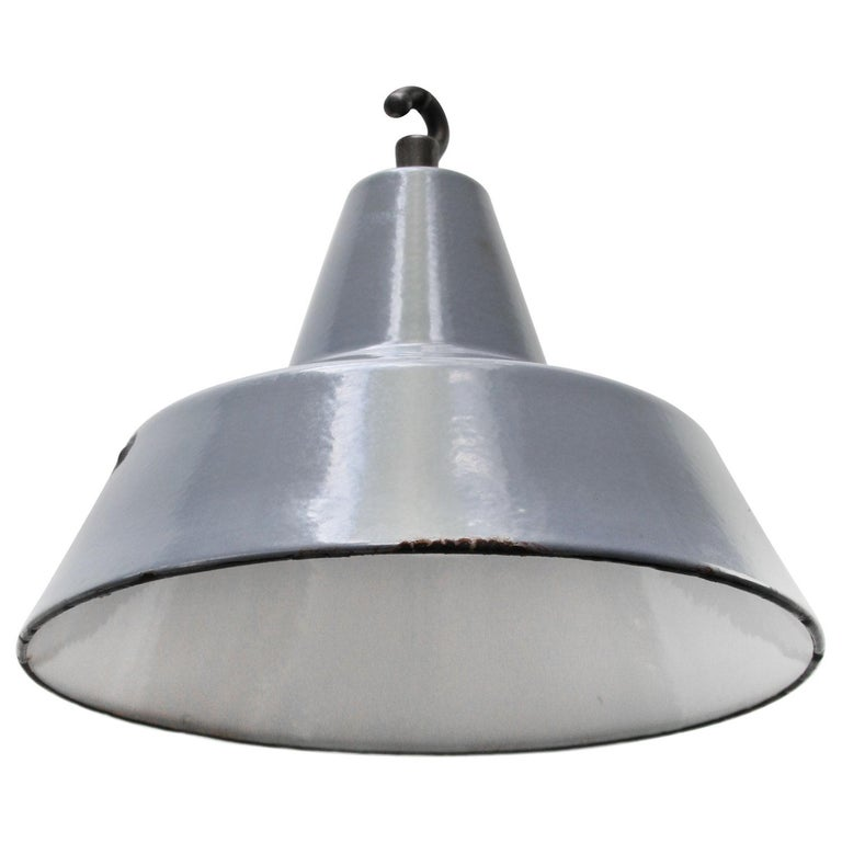 Dutch Gray Enamel Vintage Industrial Hanging Lamp Pendant by Philips For Sale