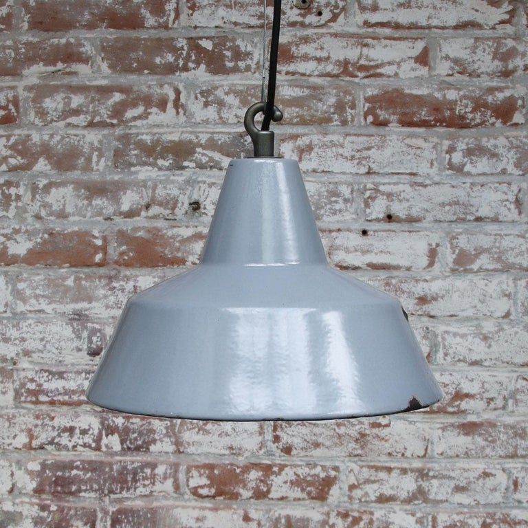 20th Century Gray Enamel Vintage Industrial Hanging Lamp Pendant by Philips For Sale