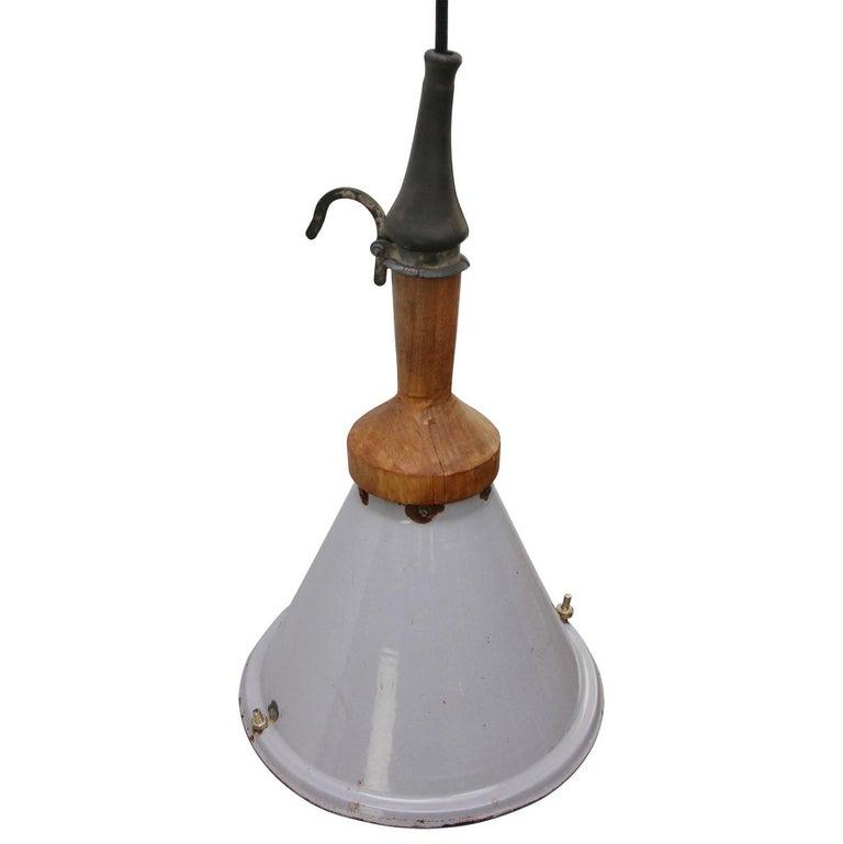 Dutch Gray Enamel Vintage Industrial Industria Rotterdam Work Light For Sale