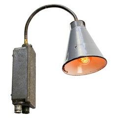 Gray Enamel Vintage Industrial Metal Flexible Arm Wall Lights