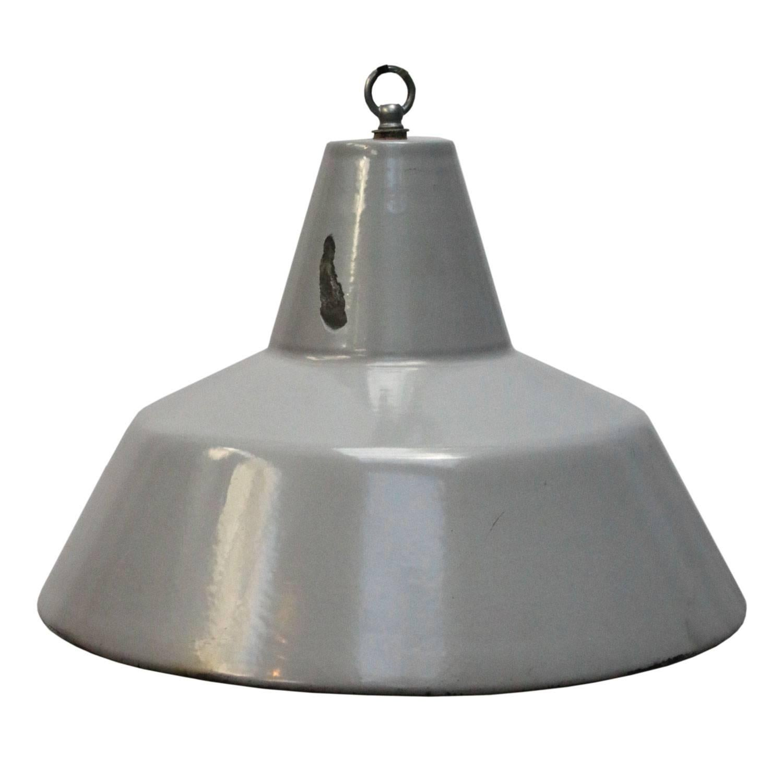 Gray Enamel Vintage Industrial Pendant Lamps