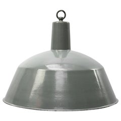 Gray Enamel Vintage Industrial Pendant Light