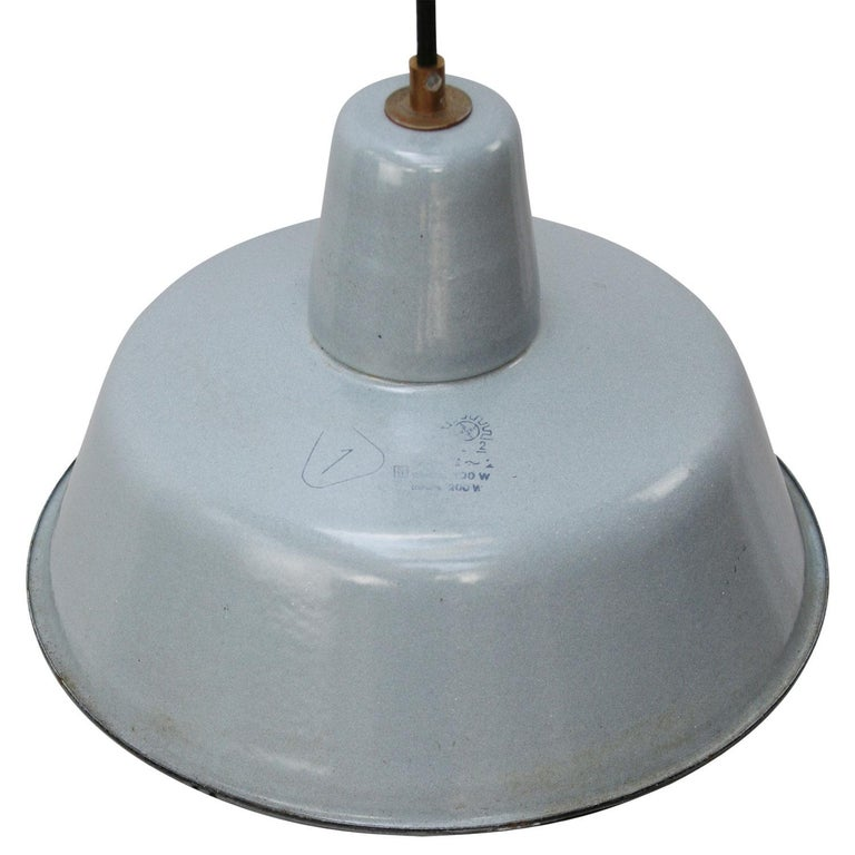 Vintage Industrial pendant. Gray enamel with white interior.