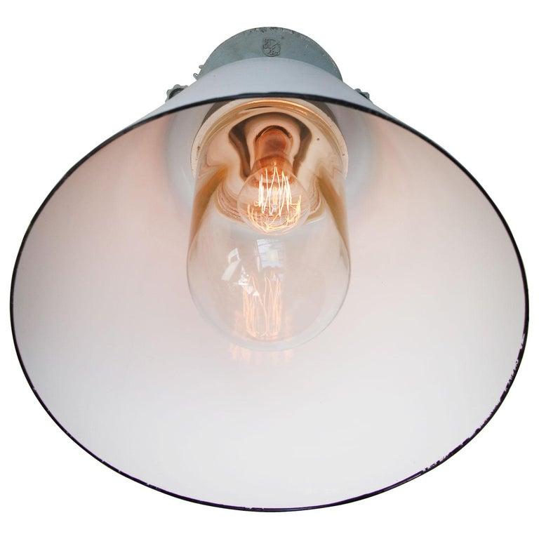 Cast Gray Enamel Vintage Industrial Scone Wall Light For Sale