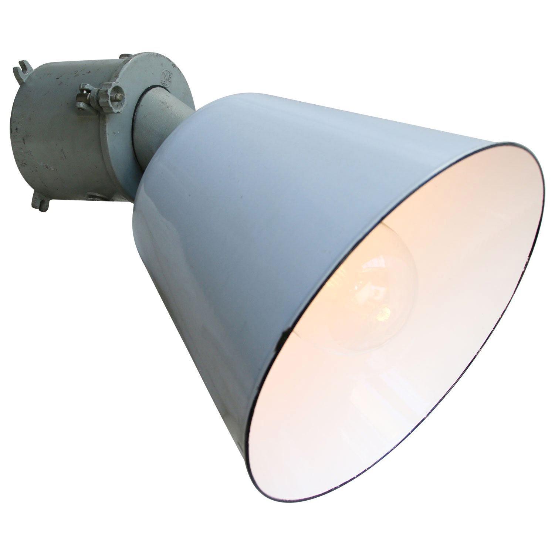 Gray Enamel Vintage Industrial Scone Wall Light