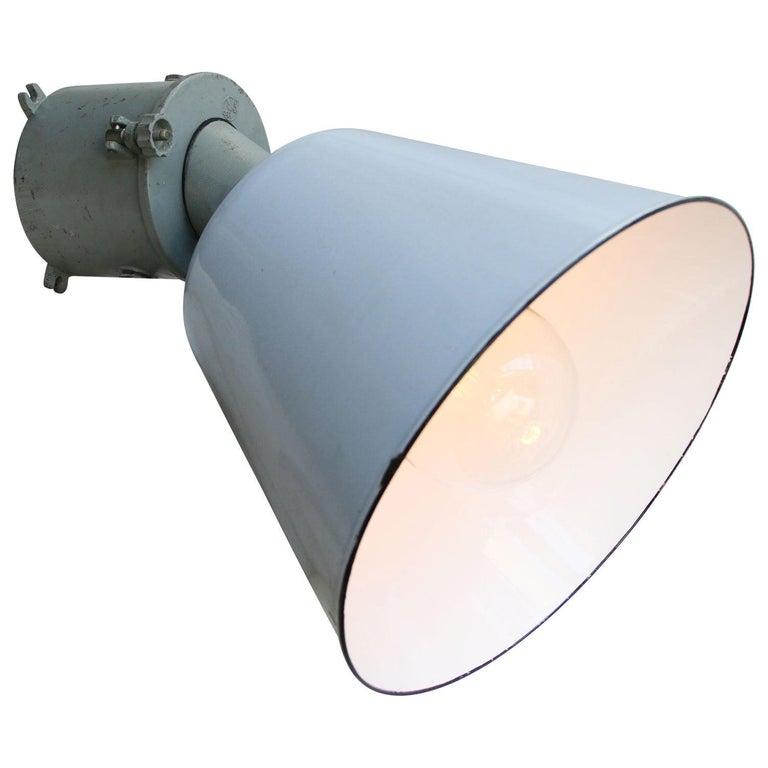 Gray Enamel Vintage Industrial Scone Wall Light For Sale