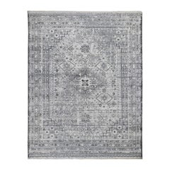 Gray Erased and Distressed Textured Pure Wool Shiraz Hand Knotted Oriental Rug