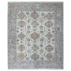 Gray Fine Peshawar Vegetable Dyes Pure Afghan Wool Oriental Rug