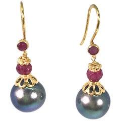 Gray Freshwater Pearl Dangling Earrings Rubies and 18 Karat Yellow Gold Earwires