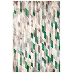 Gray Green Blue and Light Pink Customizable Astila Cowhide Area Floor Rug XLarge