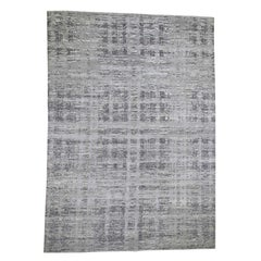 Gray Hand Spun Undyed Natural Wool Gray Modern Hand Knotted Rug