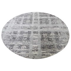 Gray Hand Spun Undyed Natural Wool Modern Round Hand Knotted Rug