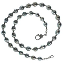 Gemjunky Gray, Iridescent Tahitian Pearl Necklace with Silver Accents