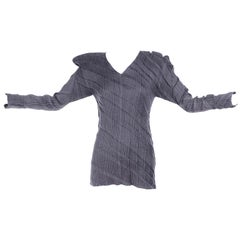 Gray Issey Miyake Avant Garde Pleated Top W/ Asymmetrical Shoulders Size Medium