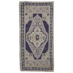 Gray, Ivory and Navy Handmade Wool Turkish Old Anatolian Konya Distressed Rug