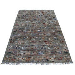 Gray Kashkuli Design Super Kazak Pictorial Pure Wool Hand Knotted Oriental Rug