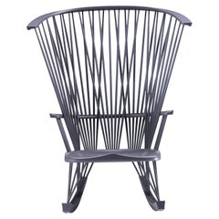 Gray Lacquered Sitlali Rocking Armchair by Philippe Bestenheider