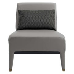 Gray Leather Armchair