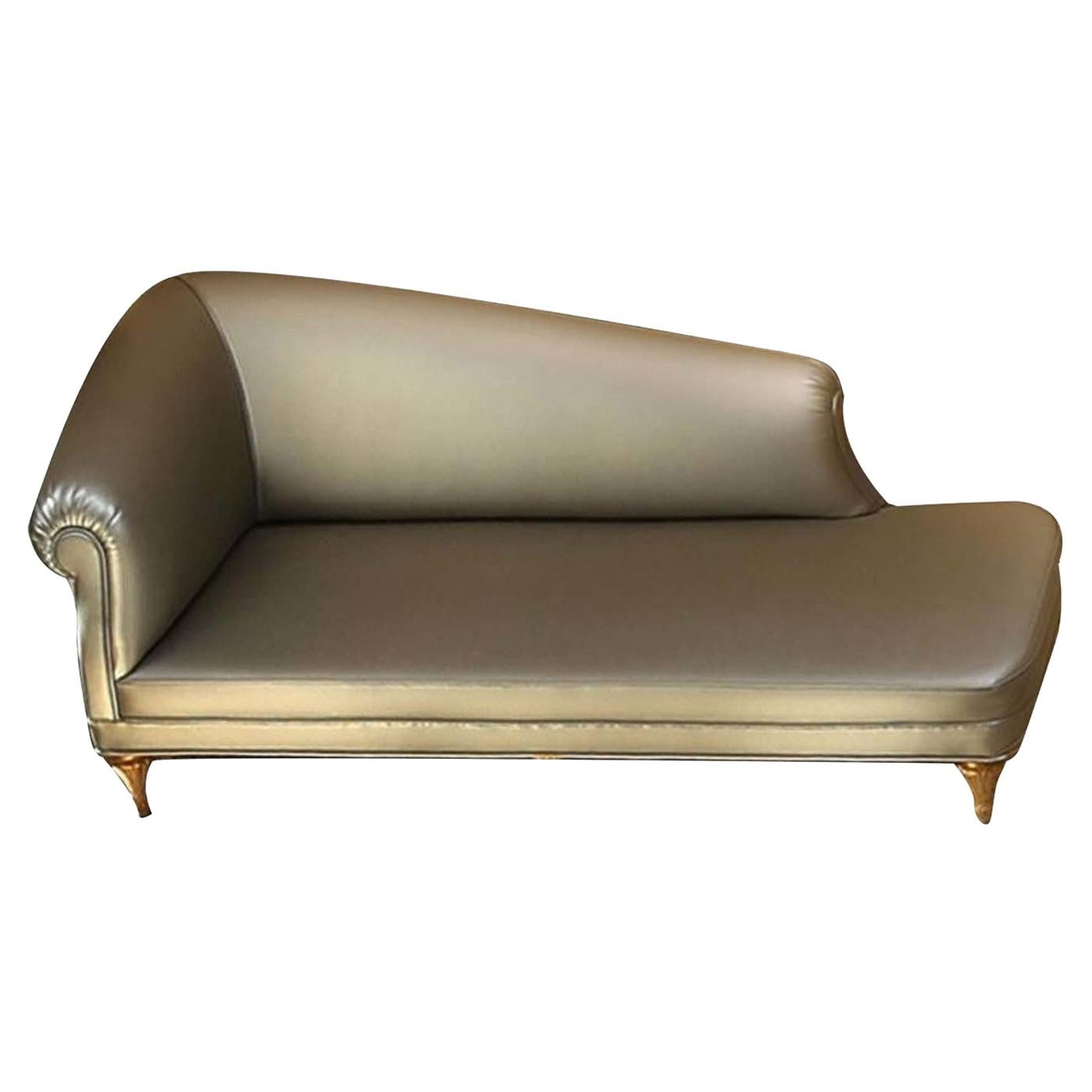 Gray Leather Chaise Longue