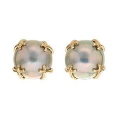 Gray Mabe Pearl Gold X Motif Earrings