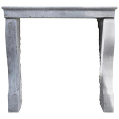 Gray Marble Stone Antique Fireplace, Style of Campagnarde