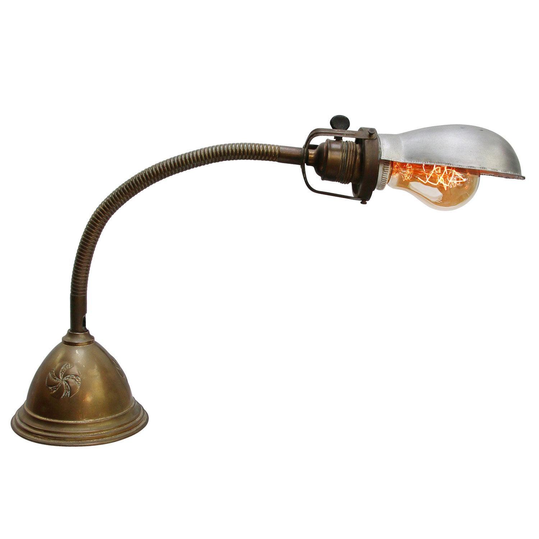 Gray Metal Vintage Industrial Brass Table Desk Light