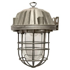 Gray Metal Vintage Industrial Cast Clear Glass Cage Pendant Lamps