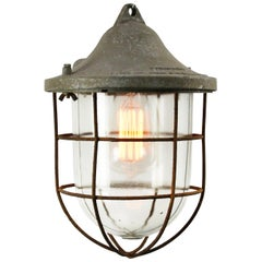 Gray Metal Vintage Industrial Clear Glass Cage Pendant Lamp