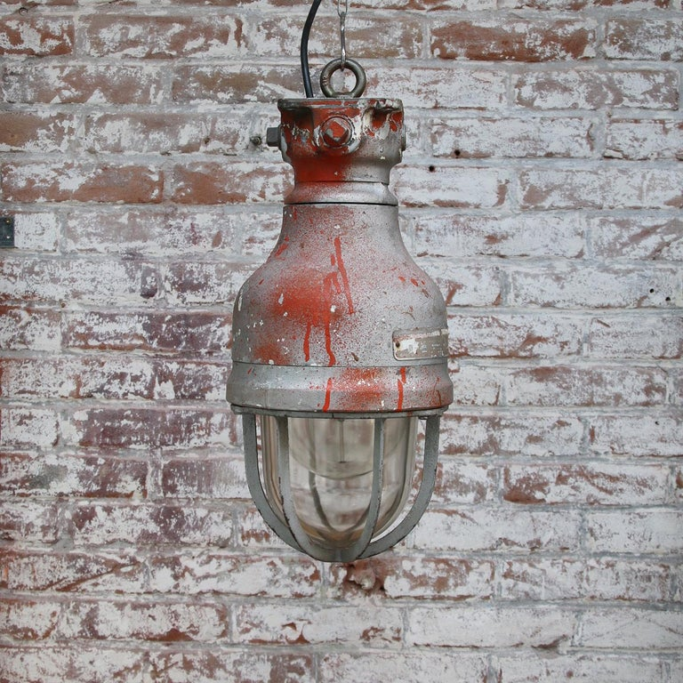 Cast Gray Metal Vintage Industrial Clear Glass Hanging Light by Crouse Hinds For Sale