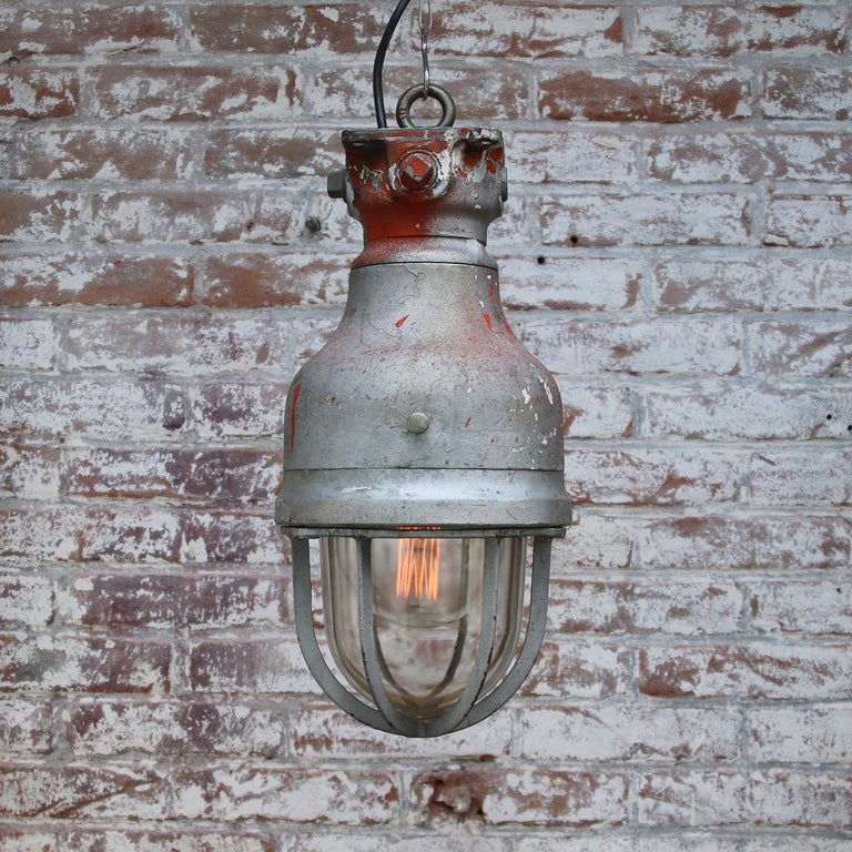 Gray Metal Vintage Industrial Clear Glass Hanging Light by Crouse Hinds In Good Condition For Sale In Amsterdam, NL