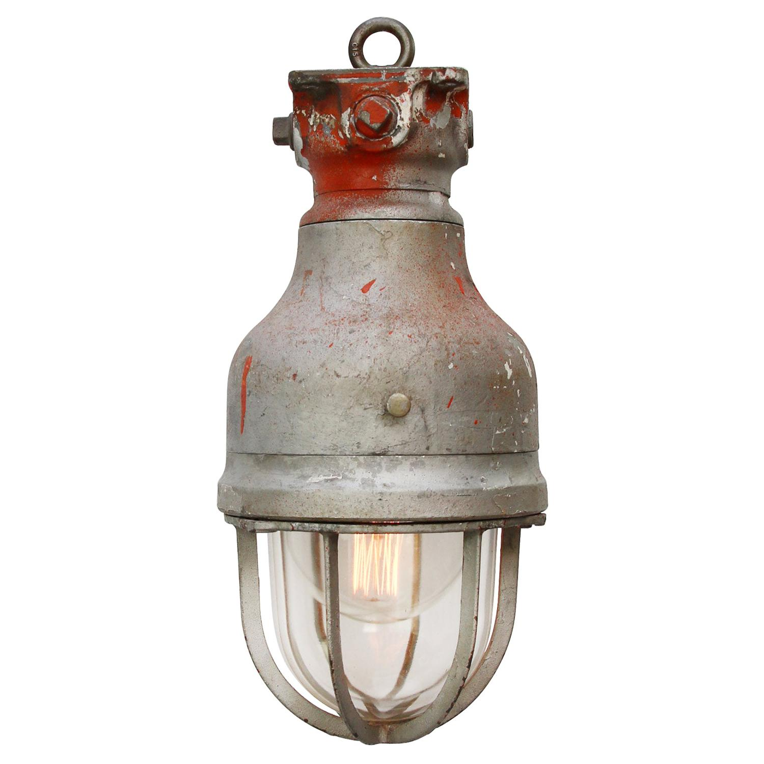 Gray Metal Vintage Industrial Clear Glass Hanging Light by Crouse Hinds