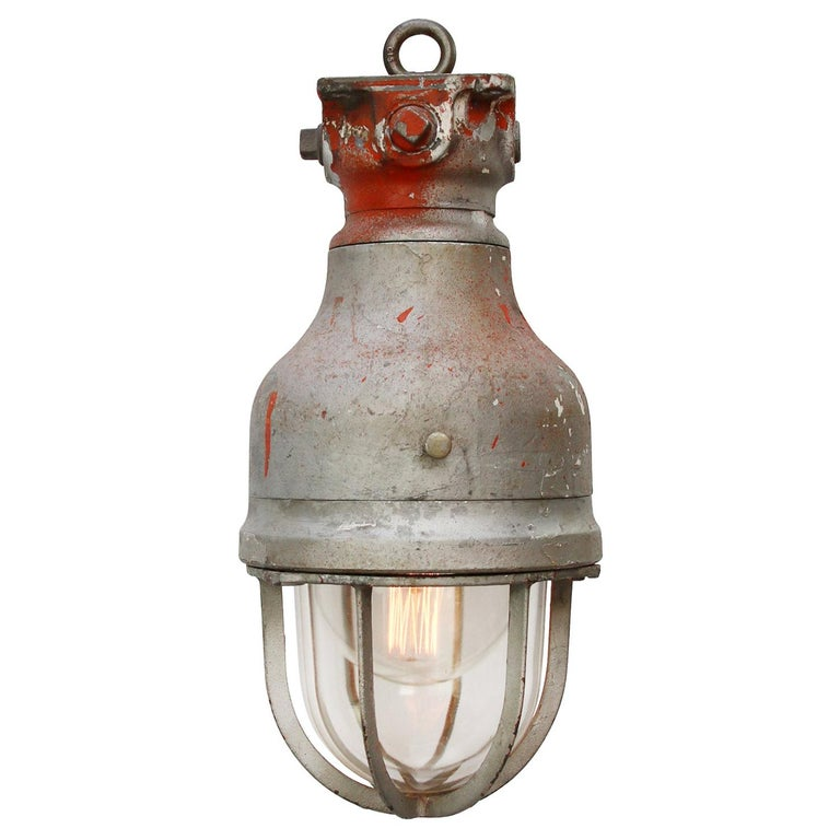 Gray Metal Vintage Industrial Clear Glass Hanging Light by Crouse Hinds For Sale