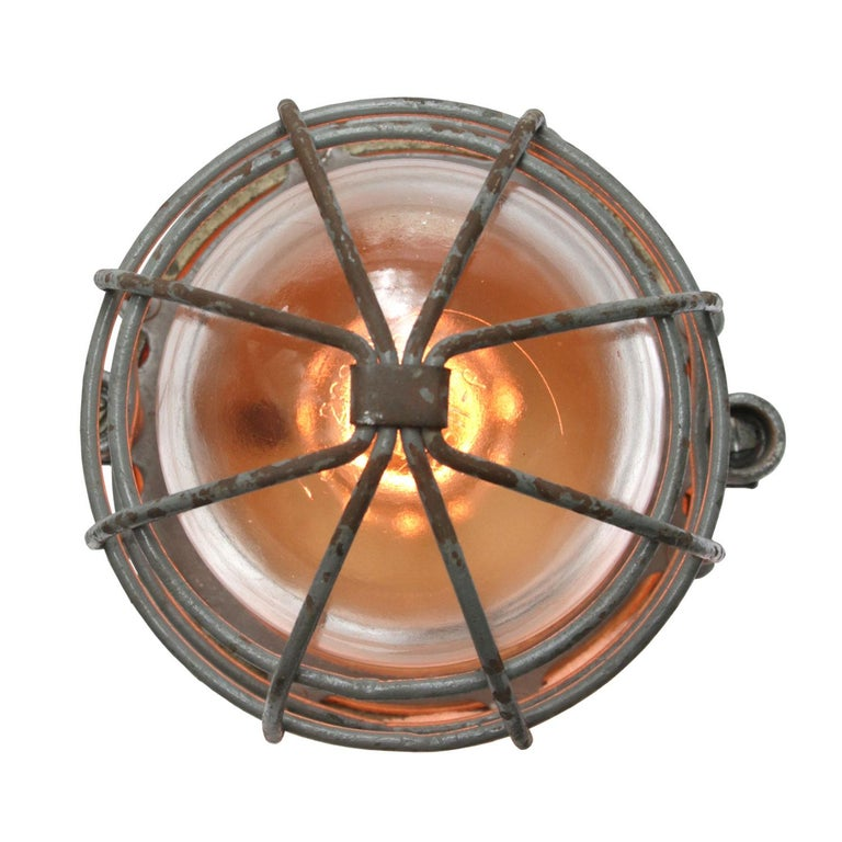 Vintage European Industrial pendant. Cast aluminium top. Clear glass.  Weight: 2.7 kg / 6 lb  Priced per individual item. All lamps have been made suitable by international standards for incandescent light bulbs, energy-efficient and LED bulbs.