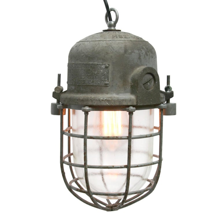 Gray Metal Vintage Industrial Clear Glass Pendant Cage Light In Good Condition For Sale In Amsterdam, NL