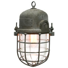 Gray Metal Vintage Industrial Clear Glass Pendant Cage Light