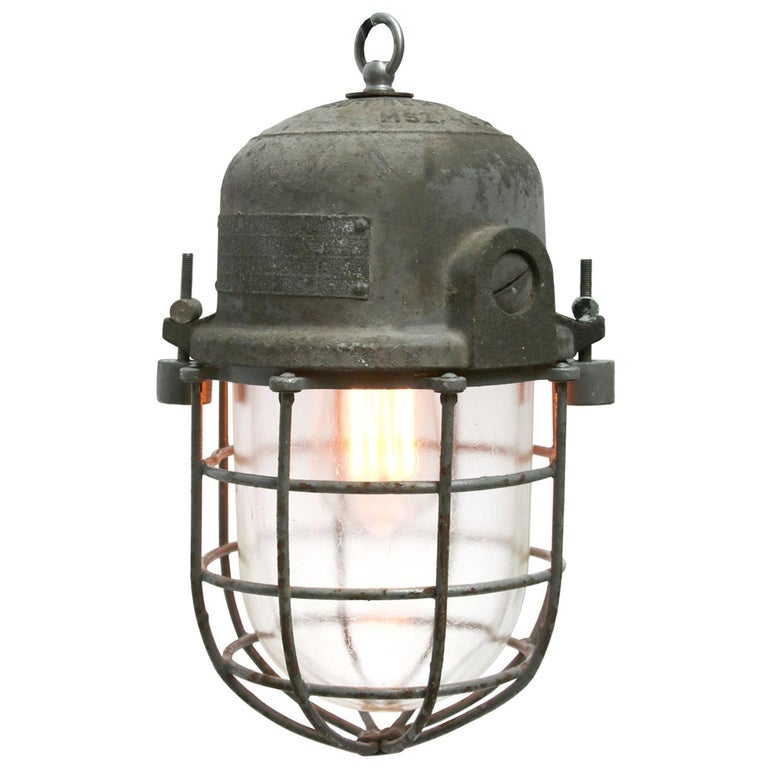 Gray Metal Vintage Industrial Clear Glass Pendant Cage Light For Sale