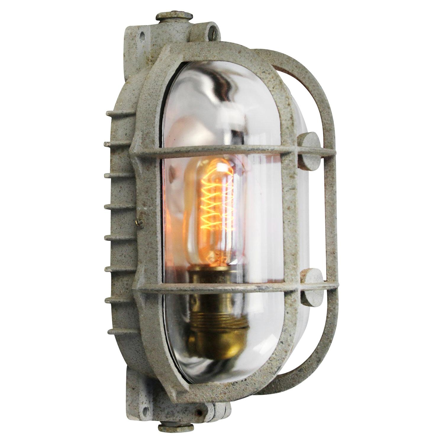 Gray Metal Vintage Industrial Clear Glass Wall Lamp Scone