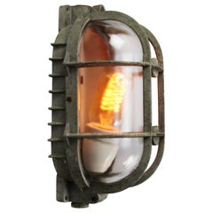 Gray Metal Vintage Industrial Clear Glass Wall Lamp Scones