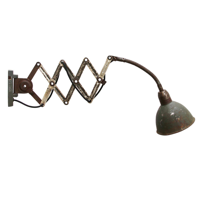 Gray Metal Vintage Industrial Scissor Wall Light Scone