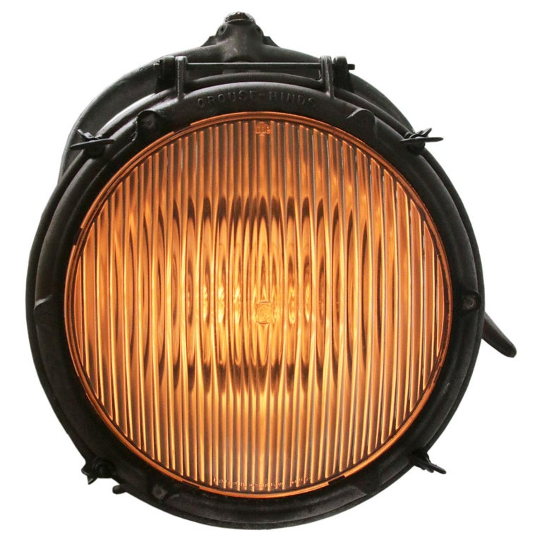 Industrial hanging light crouse-hinds spot, USA. Cast aluminium with striped glass. Measures: Diameter 33. 5 cm.  Weight 12.5 kg / 27.6 lb  Priced per individual item. All lamps have been made suitable by international standards for