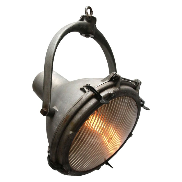 Gray Metal Vintage Industrial Striped Glass Crouse Hinds Pendant Spot Light For Sale