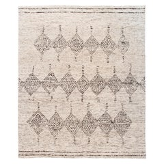 Gray Modern Moroccan Style Geometric Wool Rug