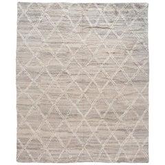 Gray Modern Moroccan Style Handmade Wool Rug