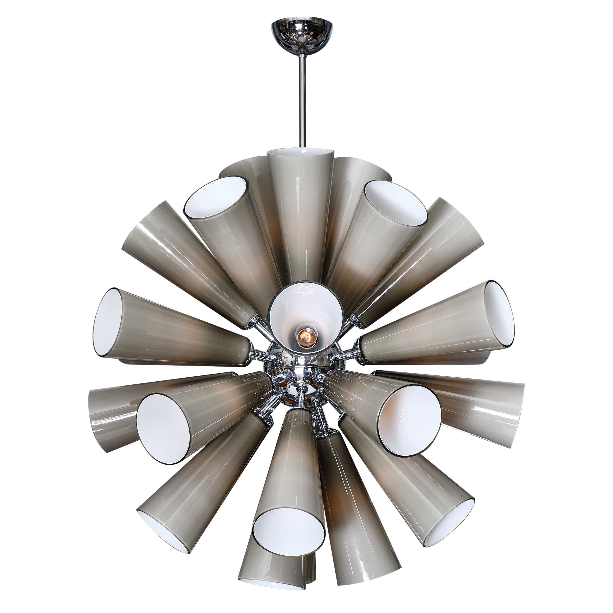 Gray Murano Glass Sputnik Chandelier