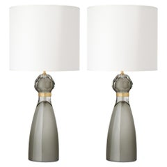 Gray Murano Glass Table Lamps