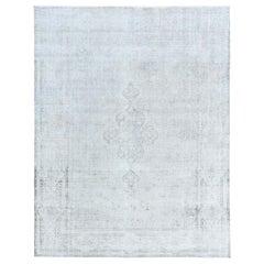 Gray Overcast Overdyed Worn Down Old Persian Kerman Oriental Rug