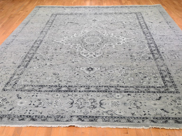 Hollywood Regency Gray Oversized Broken Persian Erased Design Silk with Textured Wool Hand Knotted